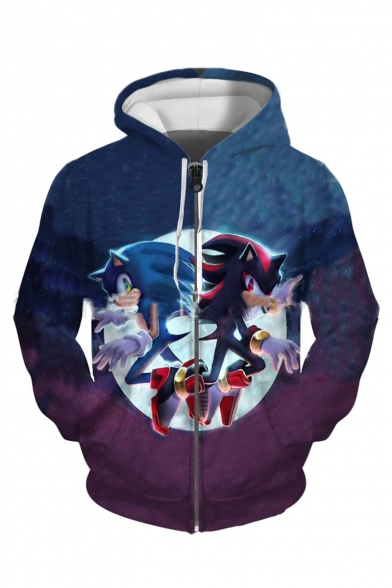 Sonic The Hedgehog Comic Figure 3d Printed Long Sleeve Full Zip Loose Hoodie Beautifulhalo Com