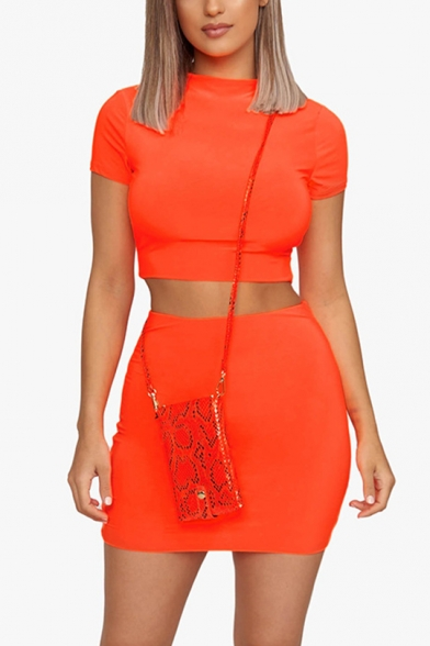 Stand Collar Short Sleeve Umbilical Tee with Elastic Waist Mini Skirt Solid Color Fitted Two Piece Set