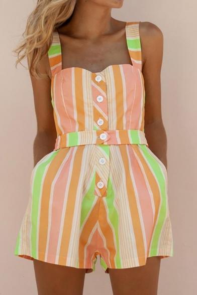 Summer Chic Orange Striped Print Straps Sleeveless Button Down Belt Waist Leisure Rompers