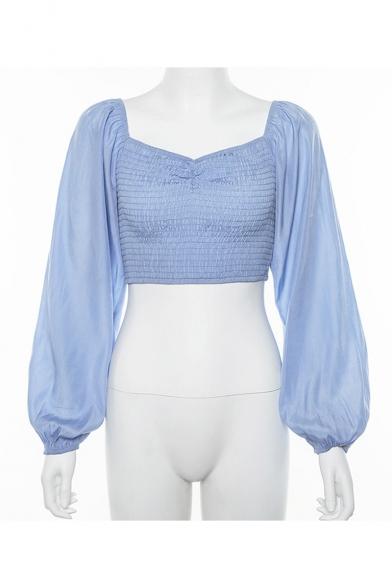 Summer Hot Popular Plain Blouson Long Sleeve Off The Shoulder Pleated Detail Cropped Blue Blouse
