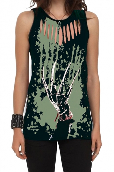 Summer Hot Stylish Skull Print Round Neck Sleeveless Cutout Detail Tank Tee