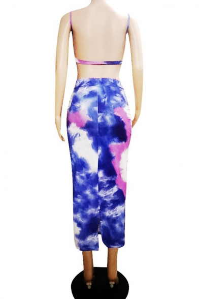 Summer Hot Stylish Straps Tee with High Waist Midi Skirt Tie Dye Colorblock Skinny Co-ords