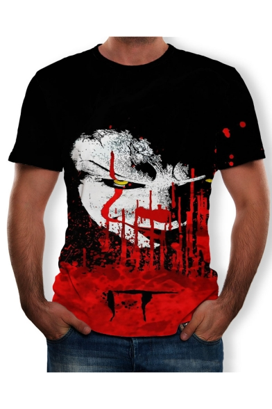 Summer Stylish Clown Pattern Round Neck Short Sleeve Black T-Shirt
