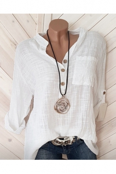 Summer Trendy Simple Plain Long Sleeve V-Neck Button Down Shirt For Women