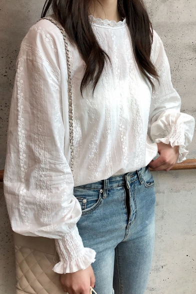 Sweet Girls White Lantern Long Sleeve Casual Leisure Lace Blouse Top