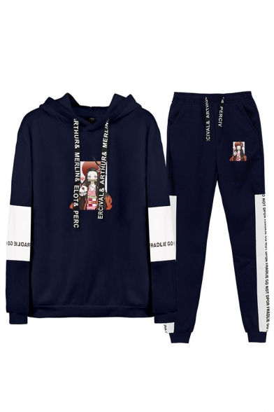 Trendy Casual Comic Printed Long Sleeve Hoodie Top with Drawstring Sweatpants Co-ords