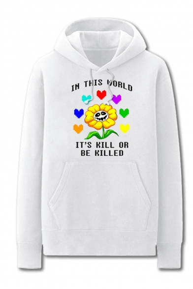 Trendy Game Theme Letter IN THIS WORLD TI'S KILL OR BE KILLED Sunflower Skull Printed Long Sleeve Casual Loose Hoodie
