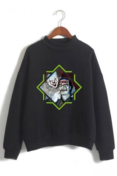 Trendy IT Clown Figure Pattern Mock Neck Long Sleeve Pullover Sweatshirt
