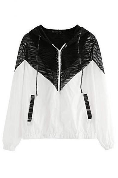 Two Tone Mesh Panel Hooded Sun Protection Coat Jacket