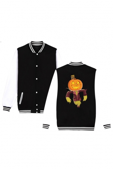 Unique Halloween Pumpkin Printed Rib Stand Collar Long Sleeve Single Loose Breasted Baseball Jacket