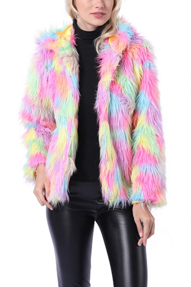 Winter Warm Open Front Long Sleeve Muli-Color ombré Faux Fur Hooded Short Overcoat