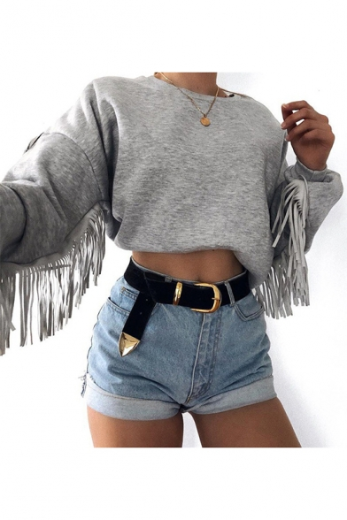 Woemns Solid Color Round Neck Tassel Long Sleeve Loose Fit Crop Sweatshirt