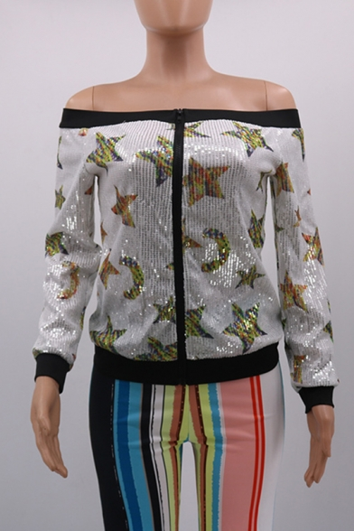 Womens Chic Sequined Star Printed Long Sleeve Zip Up Off Shoulder White Jacket
