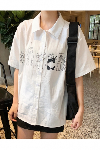 Womens Summer Fancy Comicl Print Button Lapel Collar Short Sleeve Casual Blouse Top