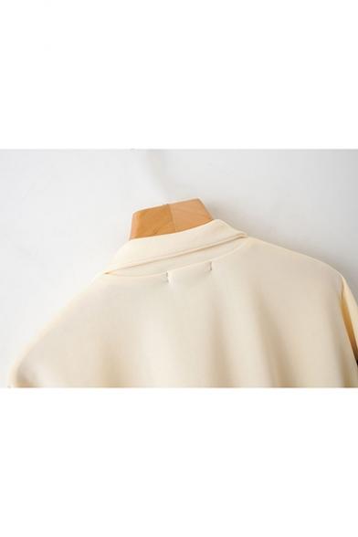 Womens Trendy Khaki Lapel Collar Long Sleeve Colorblock Zip Up Jacket