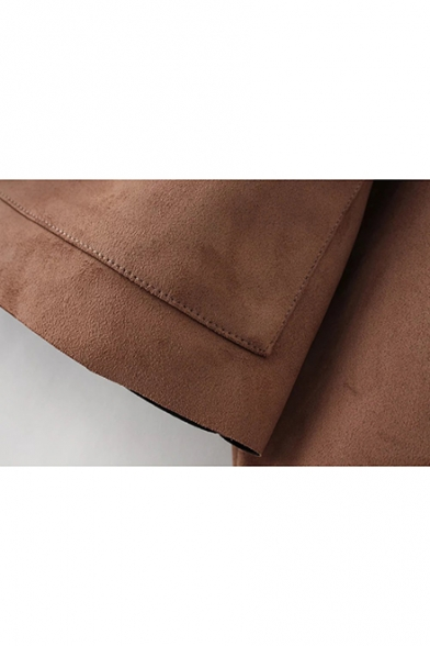 Brown Notched Lapel Collar Flap Pockets Cropped Suede Epaulets Jacket Coat
