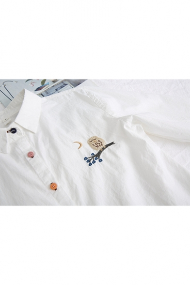 Chic Flower Embroidery Students Fashion Colorful Button Front Loose Fit Shirt