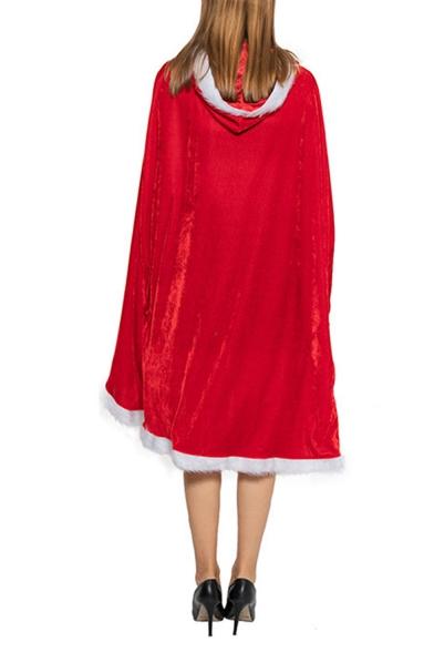 Christmas Theme Red Plain Pleuche Tied Hooded Mid-Length Cloak Cape
