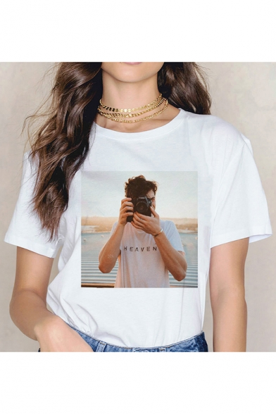 Cool Camera Figure Printed Round Neck Short Sleeve White T-Shirt
