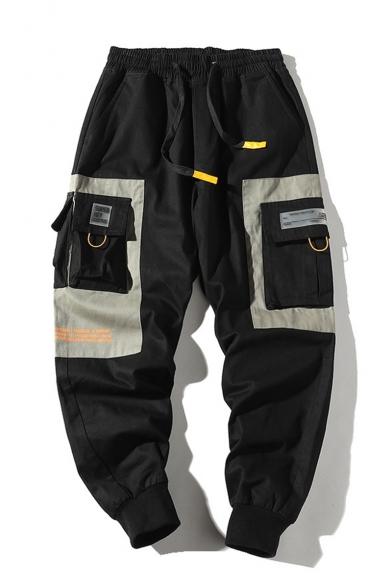 Cool Fashion Colorblock Multi-pocket Drawstring Waist Mens Trendy Sports Cargo Pants