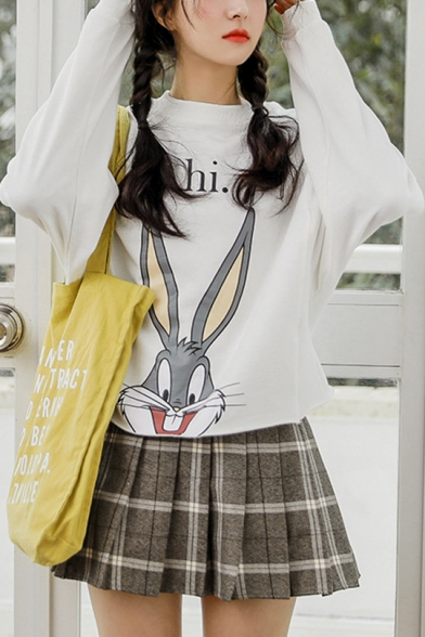 Cute Cartoon Rabbit Hi Letter Printed Long Sleeve Round Neck Leisure Pullover Sweatshirt