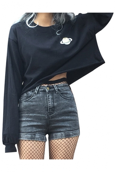 Fashion Gothic Style Black Long Sleeve Simple Planet Printed Casual Loose Crop T-Shirt