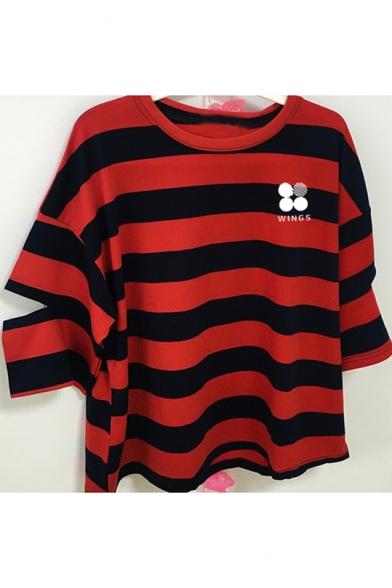 Fashion Kpop Simple Letter Logo WINGS Print Cutout Sleeve Loose Leisure Striped T-Shirt