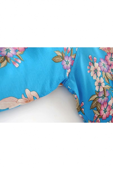 Floral Print Contrast Collar Blue Zipper Baseball Jacket with Pockets