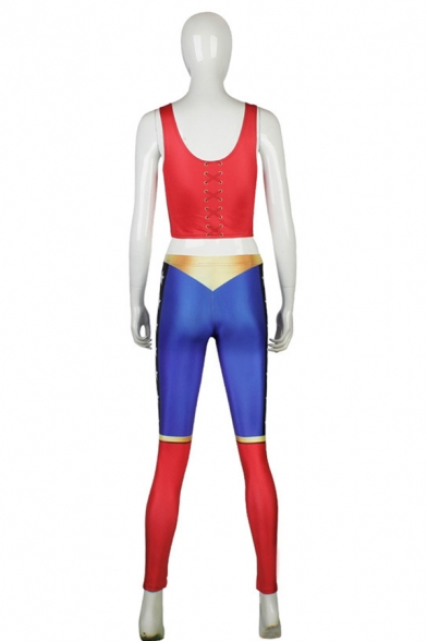 Funny Cartoon Character Cosplay Costume Scoop Neck Sleeveless Mid Waist Skinny Pants Co-ords for Women