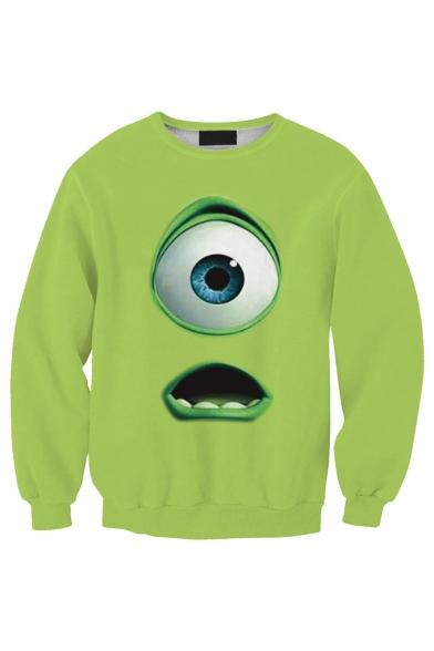 Funny Cartoon Figure Mr.Q Eye 3D Printed Long Sleeve Round Neck Green Pullover Sweatshirts