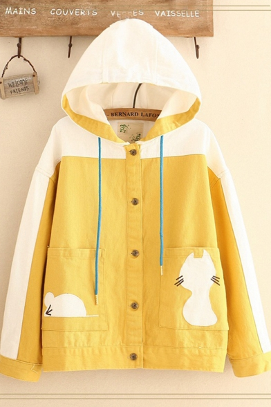 Girls Preppy Hooded Cartoon Cat Big Pockets Loose Colorblocked Single-Breasted Coat Jacket