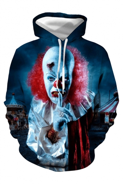Halloween Horror Clown 3D Printed Navy Drawstring Hooded Long Sleeve Loose Fit Pullover Hoodie with Pocket