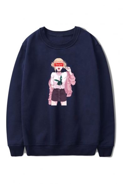 Letter SENPAI Comic Ahegao Figure Printed Round Neck Long Sleeve Casual Pullover Sweatshirts