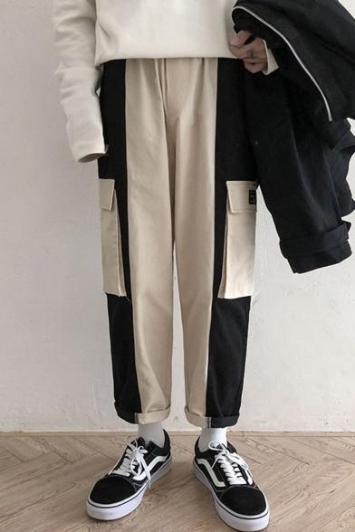 Men's Trendy Colorblock Flap Pockets Side Loose Fit Canvas Straight Cargo Pants