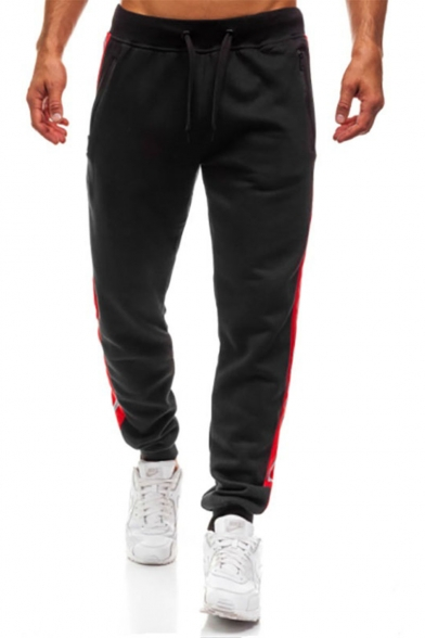 Men's Trendy Contrast Stripe Side Zippered Pocket Drawstring Waist Loose Cotton Sports Sweatpants