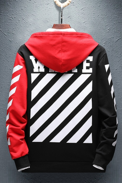 Mens Trendy Colorblock Diagonal Stripes Letter M OFF Printed Casual Loose Drawstring Hoodie