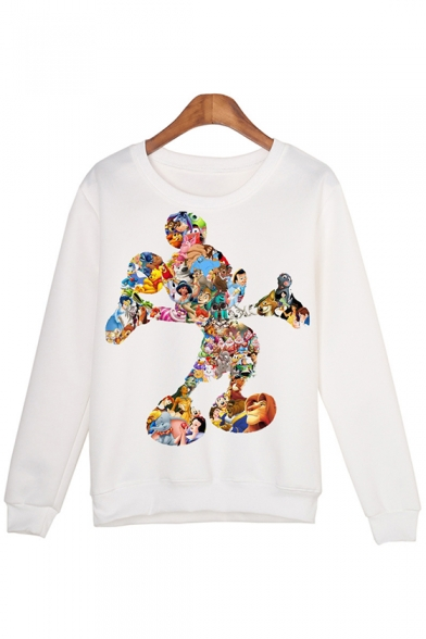 Cartoon Printed Round Neck Long Sleeve Pullover Sweatshirt