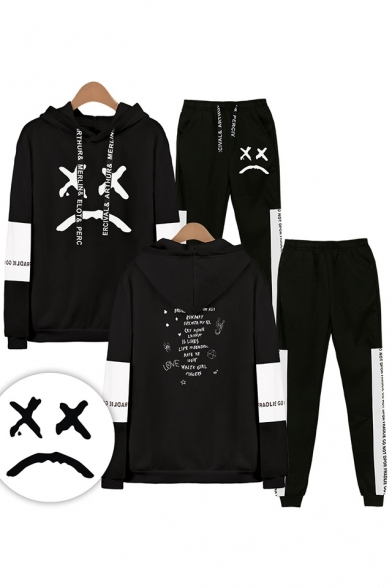 New Fashion Bad Expression Print Casual Long Sleeve Hoodie With Drawstring Sweatpants Two Piece Set, LM556323, Black;white;gray;navy