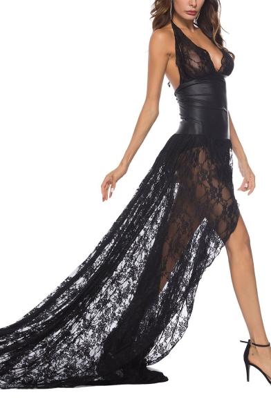New Fashion Halter Sleeveless Lace-Trimmed Plain Asymmetrical Floor Length Dress