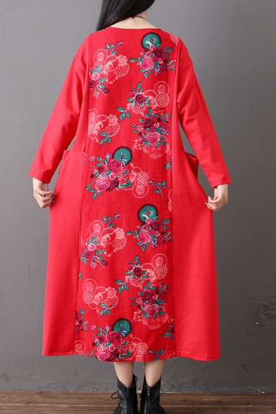 New Fashion Round Neck Long Sleeve Floral Printed Pockets Loose National Style Maxi Shift Dress