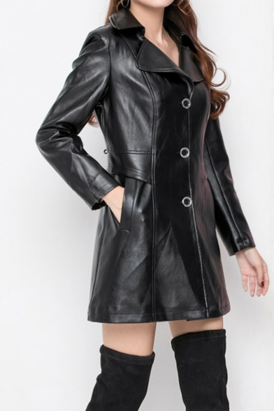 Notched Lapel Collar Gathered Waist PU Leather Longline Tailored Jacket Coat