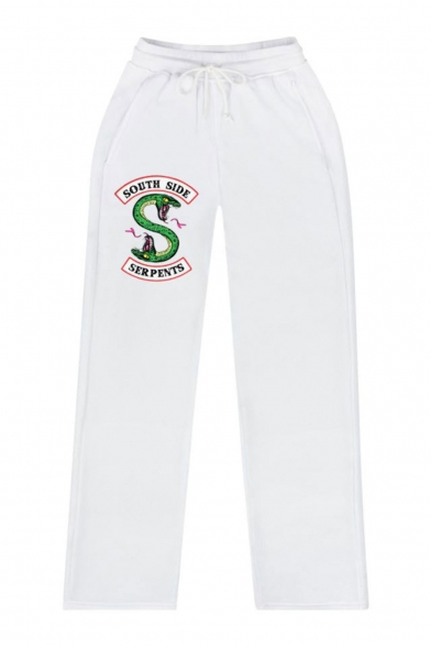 Popular Fashion Letter South Side Serpents Snake Printed Drawstring Waist Casual Loose Sweatpants