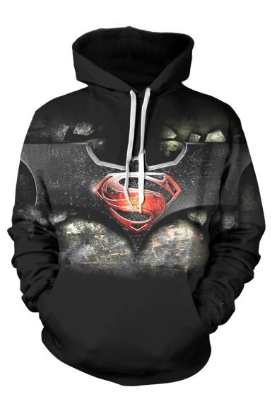 Popular Fashion Logo S Bat 3D Printed Black Drawstring Hooded Long Sleeve Black Casual Loose Pullover Hoodie