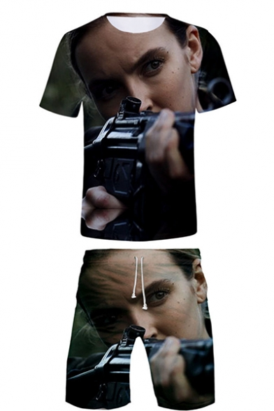 Popular Film Figure 3D Printing Short Sleeve T-Shirt with Sport Loose Shorts Two-Piece Set