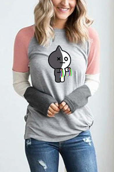 Popular Kpop Boy Band Cartoon Character Printed Colorblocked Long Sleeve Fitted T-Shirt for Women