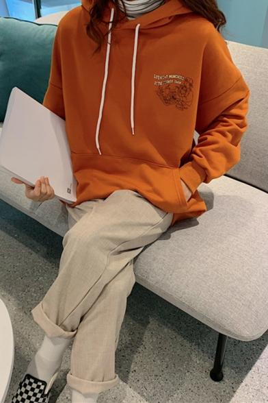 Popular Letter Printed Long Sleeve Pocket Loose Pullover Drawstring Hoodie