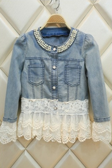 Stylish Lace Panel Studded Embellished Round Collar Single Breasted Fitted Jean Jacket Coat