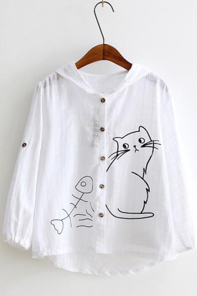 Trendy White Long Sleeve Button Down Cat Fishbone Printed Sunscreen Cotton Linen Cardigan Shirt