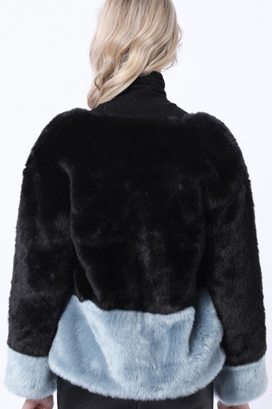 Winter Crewneck Collar Open Front Colorblocked Faux Rabbit Fur Jacket Coat