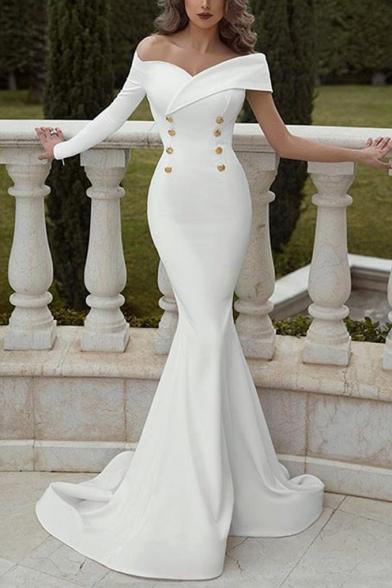 Women's Boat Neck Long Sleeve Double Breasted Fishtail Plain Floor Length Dress